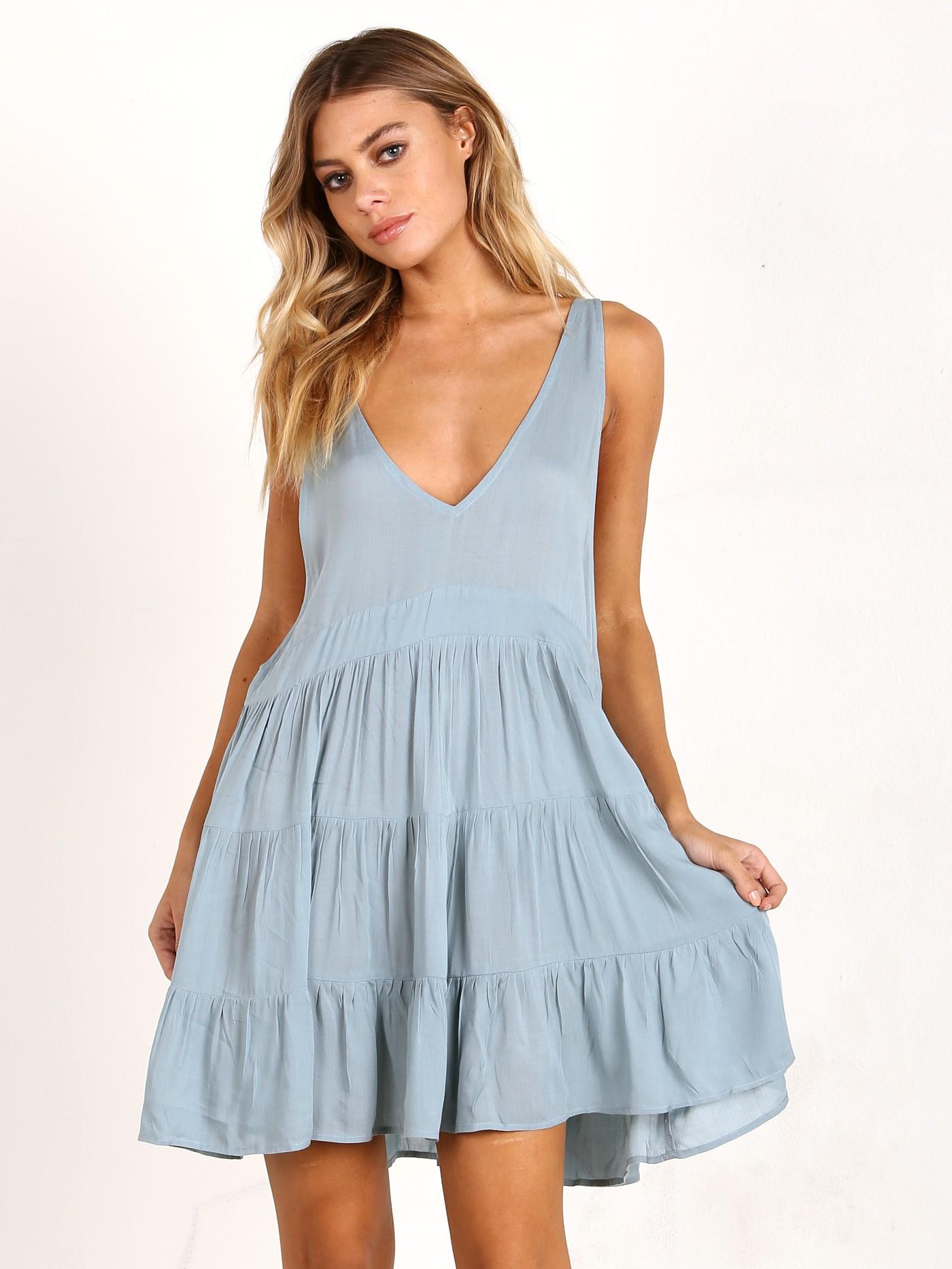 Acacia Havana Mini Dress Rayon Sky HAVANA - Free Shipping at Largo Drive