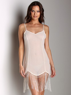 Free People Chiffon Slip With Fringe Bottom Ivory