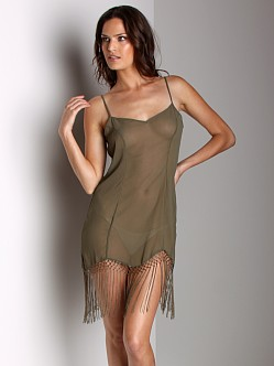 Free People Chiffon Slip With Fringe Bottom Army