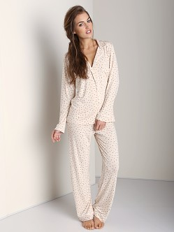 Eberjey Sleep Chic PJ Set Bird Print Blush/Black