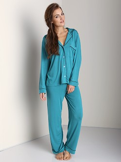 Eberjey Gisele PJ Set Emerald/Black