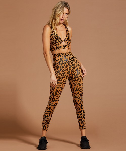 Beach Riot Twist Top Sports Bra Leopard