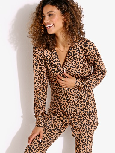 Model in leopard Beach Riot Mary Blouse PJ