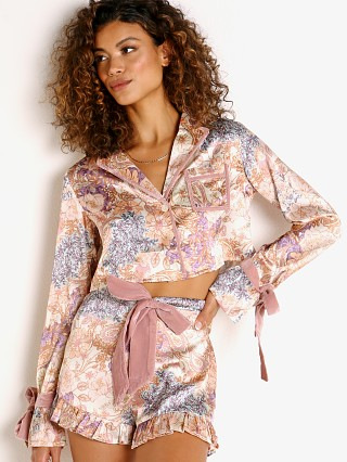 Model in harvest gold paisley Beach Riot Luna Blouse