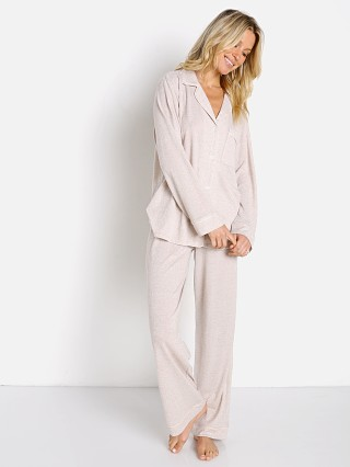 Model in oatmeal heather/bellini Eberjey Bobby Long PJ Set