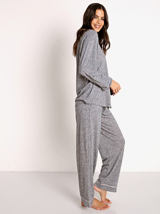 Model in heather grey/bellini Eberjey Bobby Long PJ Set