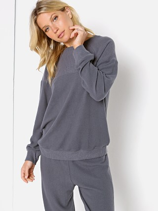 Model in gunmetal Eberjey Cozy Time Combo Sweatshirt