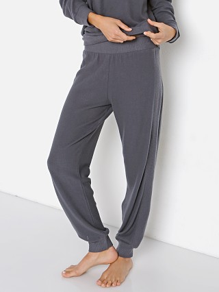 Model in gunmetal Eberjey Cozy Time Combo Pant