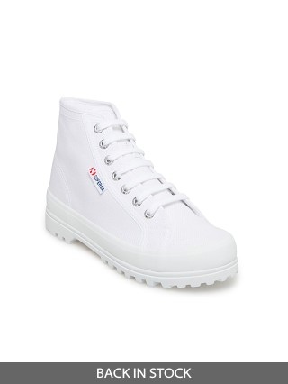 Model in white Superga 2341 Alpina High Top Sneaker