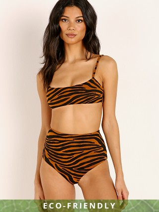 Mara Hoffman Sia Bikini Top Tigre Print Brown Clay