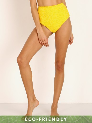 Mara Hoffman Lydia High Waist Bikini Bottom Lemon Flower Jacquar