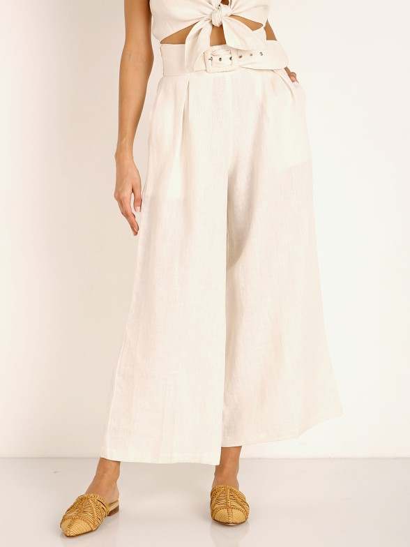 Faithfull the Brand Lena Wide Leg Pants Plain Egg White