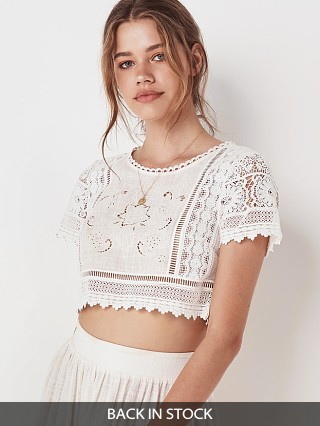 Spell & The Gypsy Abigail Lace Cropped Top White