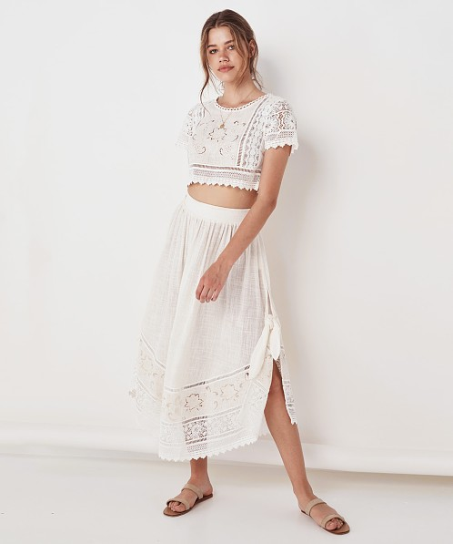 390e9dceda Spell & The Gypsy Abigail Lace Tie Side Skirt White