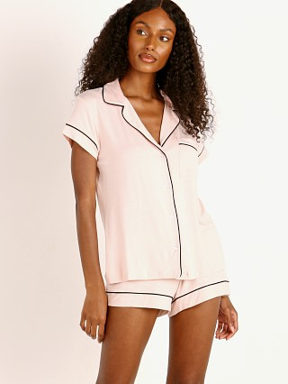 Model in sorbet/black Eberjey Gisele Short PJ Set