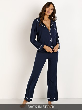Model in navy/ivory Eberjey Gisele PJ Set