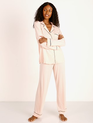 Model in sorbet pink/black Eberjey Gisele PJ Set
