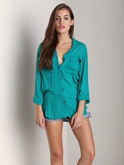 Bella Dahl Patch Pocket Button Down Emerald