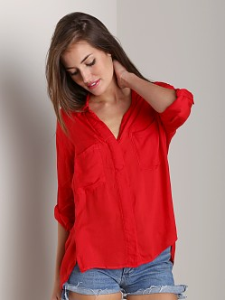 Bella Dahl Split Back Button Down Shirt Cherry