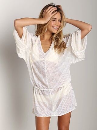 Vitamin A Bianca Caftan Tunic White Diamond Crochet
