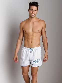 Emporio Armani Big Logo Swim Shorts White