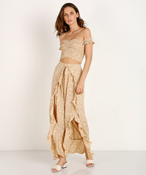 Blue Life Ruffle Culotte Blushing Gardens Taupe