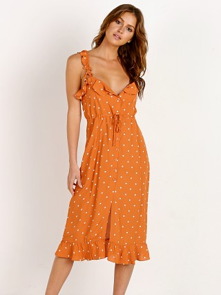 For Love & Lemons Natalia Dot Midi Dress Copper Dot