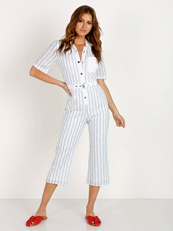 For Love Lemons Hermosa Striped Eyelet Jumpsuit Blue Cr1228e Sp18