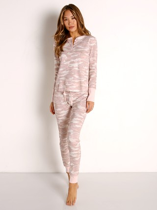 Model in tonal camo Splendid Vintage Thermal PJ Set