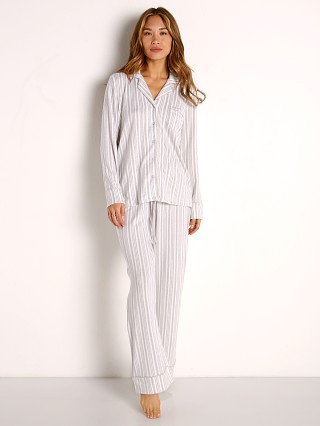 Model in soft vintage stripe Splendid Notch Collar PJ Set