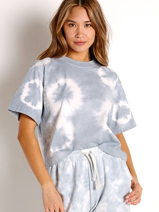 Model in blue mirage tie dye Richer Poorer Relaxed SS Crop Tee