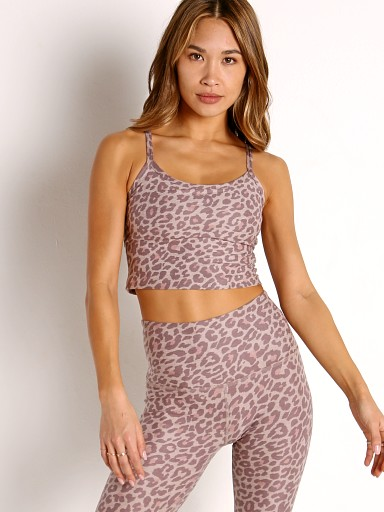 Model in chai cocoa leopard Beyond Yoga Spacedye Slim Racerback Cropped Tank Chai Cocoa Leop