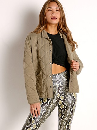 Model in washed olive Z Supply Maya Quilter Jacket