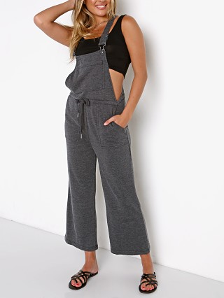 Model in washed black Z Supply Cinched Waist Overall