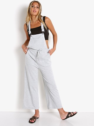Model in heather grey Z Supply Cinched Waist Overall