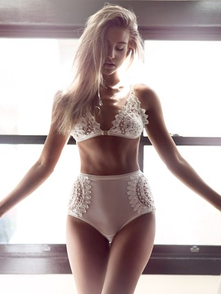 SKIVVIES by For Love & Lemons Annabella Bralette Ivory