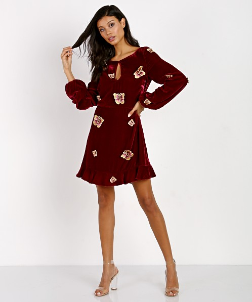 For Love & Lemons Papillon Mini Dress Raspberry