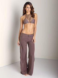 Acacia Oberoi Silk Crochet Side Pants Fig