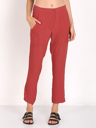 Model in red velvet Flynn Skye Hutton Pant