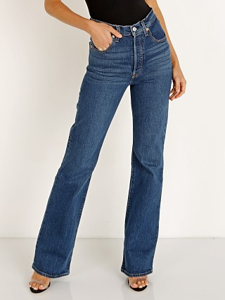 Model in turn up Levi's Ribcage Boot Leg Jean