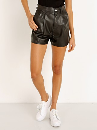 Model in leather night Levi's HR Faux Leather Shorts