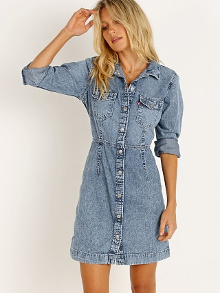 Model in passing me by Levi's Ellie Denim Dress