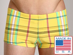 Sauvage Plaid Square Cut Swim Trunk Yellow