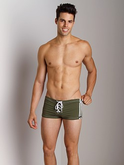 Sauvage Football Lace-Up Swim Short Olive/White