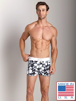 Sauvage Retro Hawaii Lycra Swimmer Black Flower