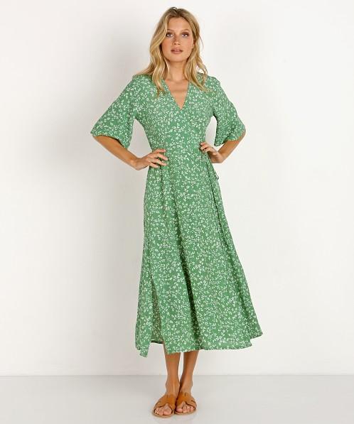 e18eb7cdc6f2 Faithfull the Brand Rivera Midi Dress Violette Print Green FF1026-VPG -  Free Shipping at Largo Drive