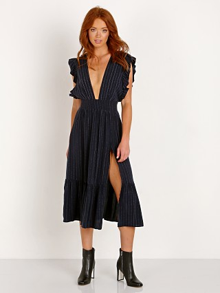 Model in dainty stripe Stillwater The Jessie Midi