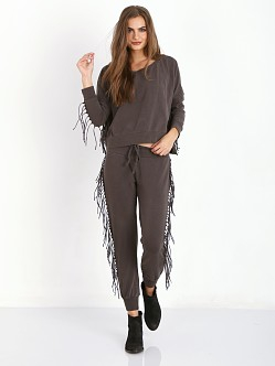 Amuse Society Asher Fleece Fringe Pant Charcoal