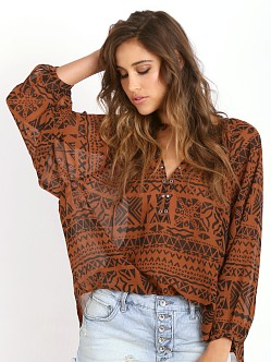 Amuse Society Piper Woven Top Henna
