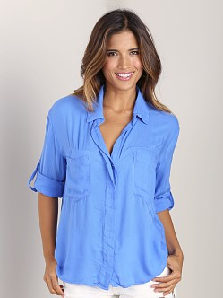 Bella Dahl Split Back Button Down Shirt Horizontal Blue